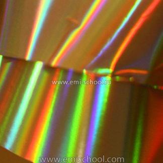 Голографическая фольга E.MI золотая №2 «Поперечные полосы»