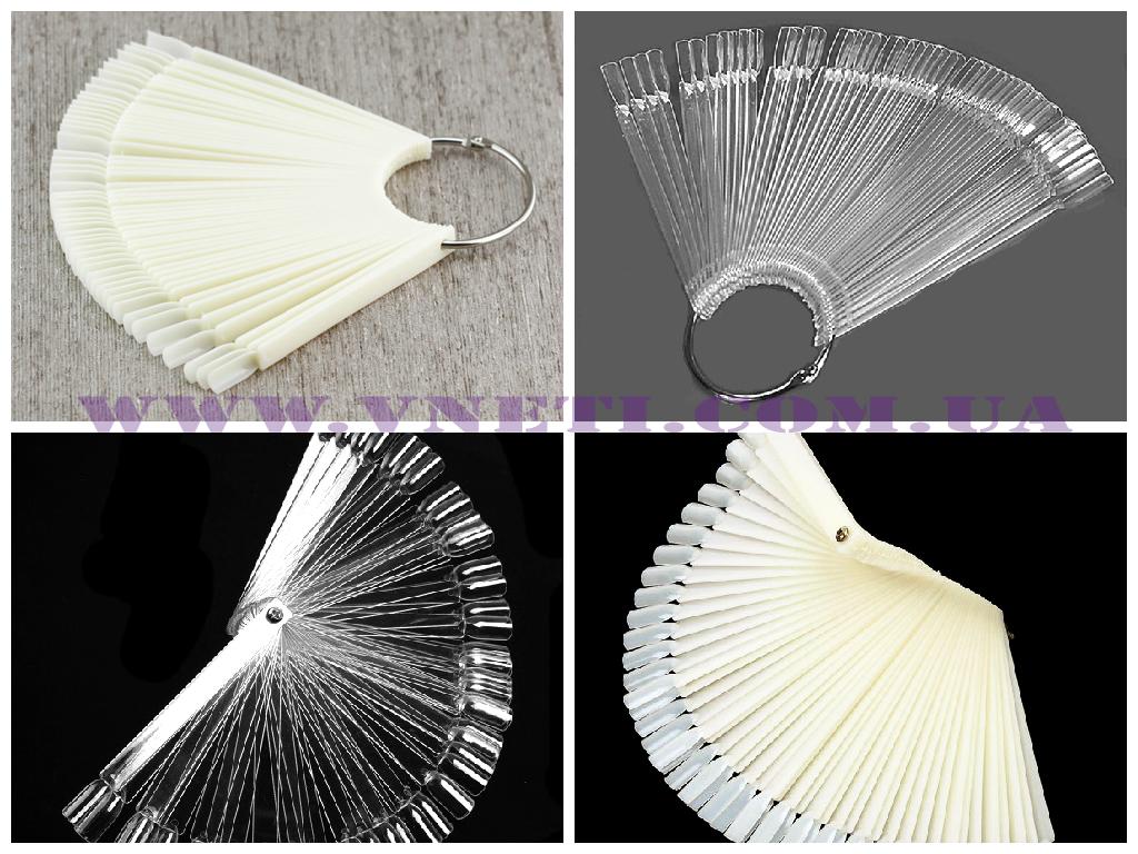 Палитра для лаков веер на оси (кольце) прозрачная и белая (матовая, молочная)