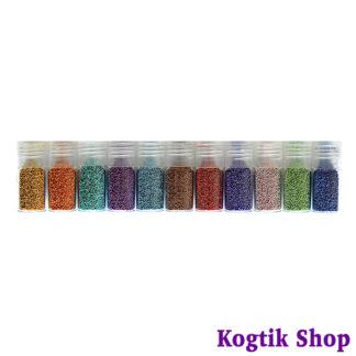 Бульонки (бисер) набор для дизайна ногтей 11 бутылочек
