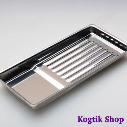 Лоток металлический прямоугольный для хранения и стерилизации инструмента (195х90х19)