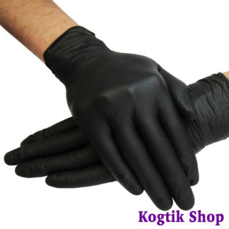 Перчатки нитриловые неопудренные нестерильные текстурированные черные 100 шт., размер L.