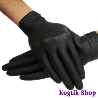 Перчатки нитриловые неопудренные нестерильные текстурированные черные 1 пара, размер M.